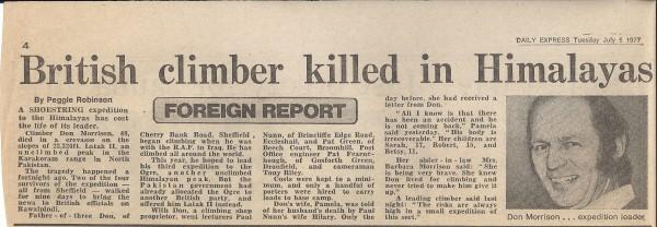 Don Morrison killed in the Karakoram