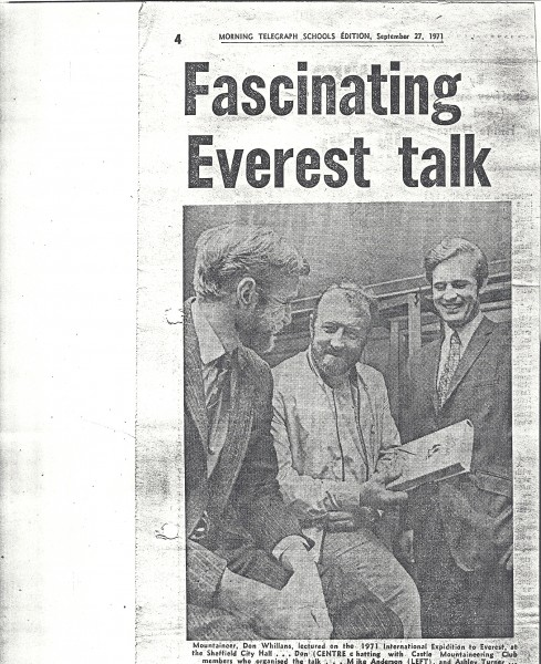 Everest lecture by Don Whillans organised by the CMC at Sheffield City Hall, 1971